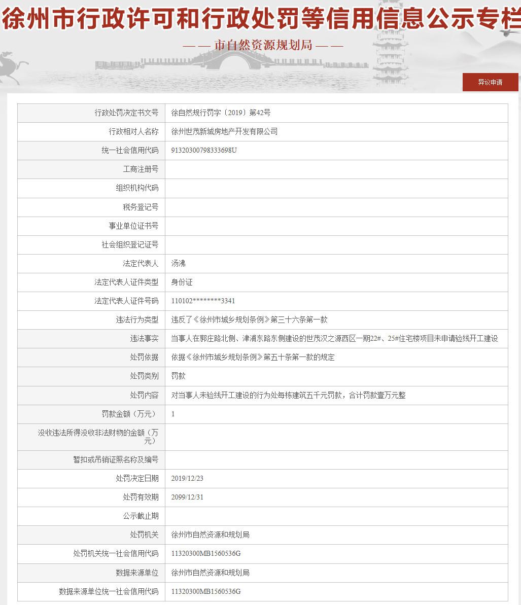 精彩:世茂房地产徐州子公司违规被罚此前有项目发生事故致1人死亡