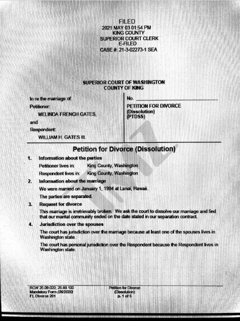美媒曝盖茨离婚文件:由梅琳达提起申请,未来不要求配偶支持
