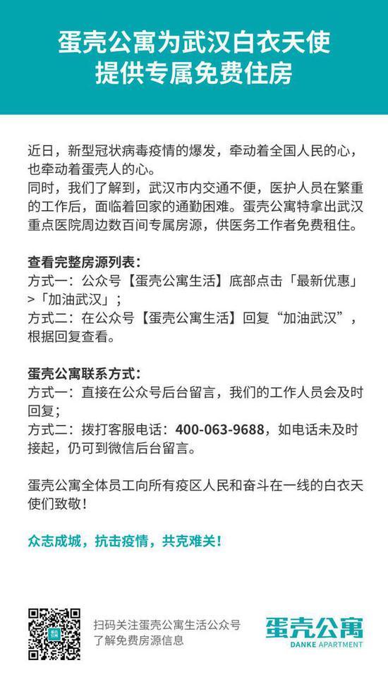蛋壳公寓将为武汉医护人员提供专属免费住房-中国网地产