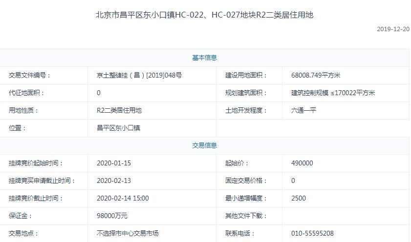 绿城63.6亿元竞得昌平区东小口镇1宗居住用地 销售均价58858元/平