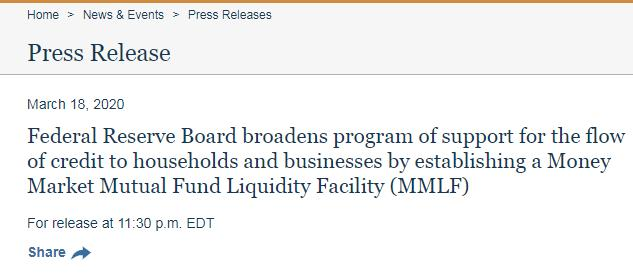 市场流动性急!美联储紧急推出MMLF
