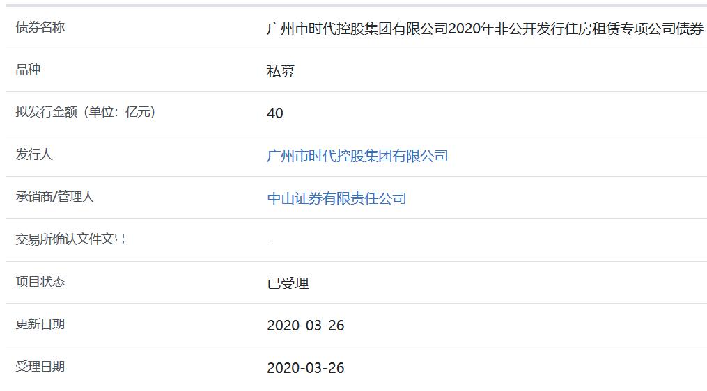 广州时代控股40亿元住房租赁专项公司债券获上交所受理-中国网地产