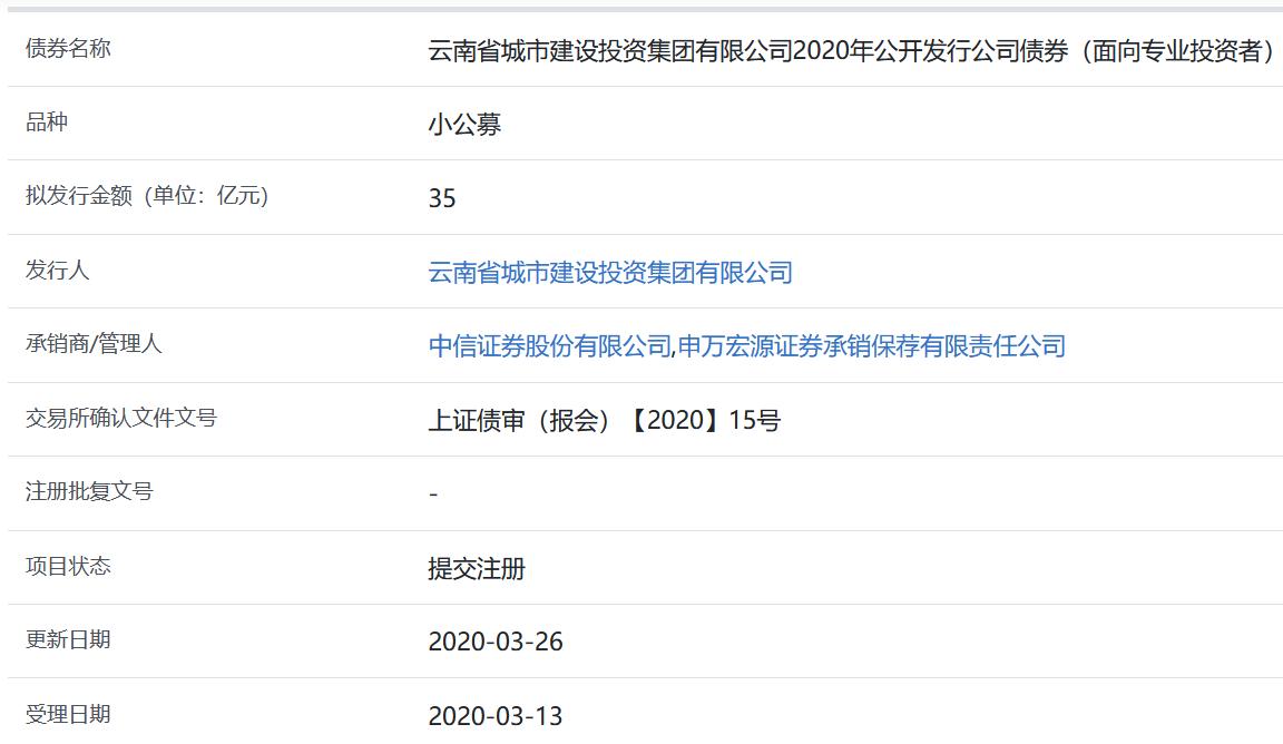 云南城投集团35亿元公司债券在上交所提交注册