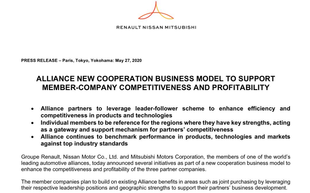 雷诺日产三菱联盟构造改革 全球市场分而治之