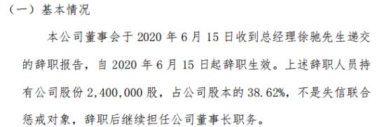 掌霆互动总经理徐驰辞职 持有公司38.62%股份