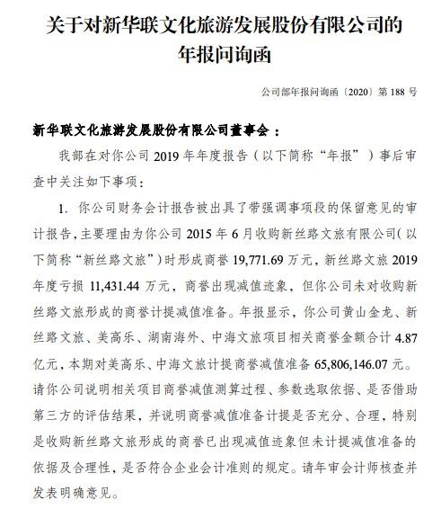 新华联:年报涉商誉减值等11事项收深交所问询函