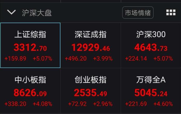 《【鹿鼎代理注册】沪指涨逾5%站上3300点 百股涨停再现》