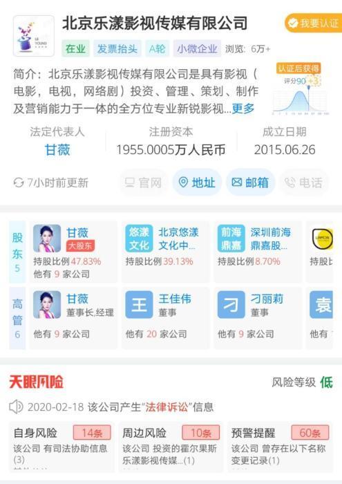2015年6月,甘薇创办乐漾影视。数据来自天眼查