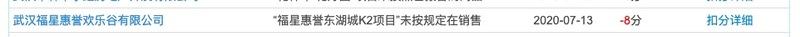 福星股份旗下武汉福星惠誉欢乐谷公司涉违规售房被通报扣信用分8分