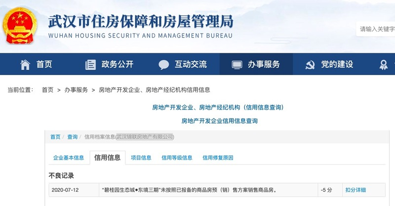 武汉碧桂园生态城东境三期违规销售公司遭主管部门通报信用扣分