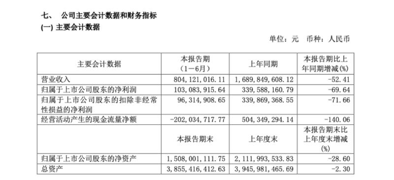 水井坊:上半年营收8亿净利降70%