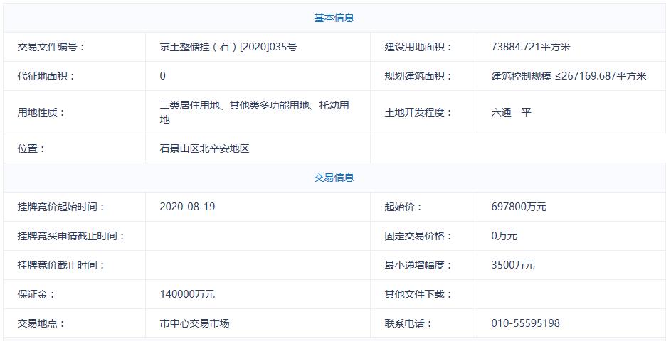 北京石景山69.78亿元挂牌一宗不限价地块-中国网地产