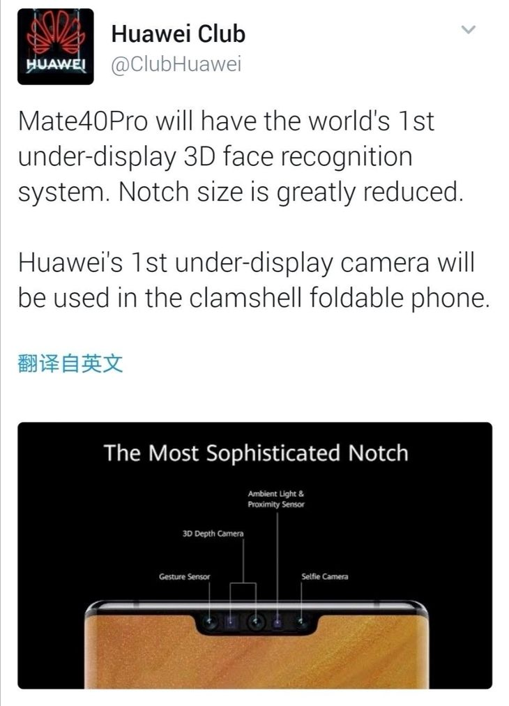 华为Mate 40 Pro曝光:或将搭载双孔曲面屏