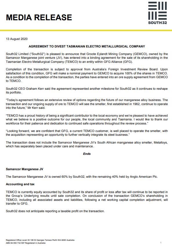 South32:将锰合金冶炼厂TEMCO出售给GFG联盟