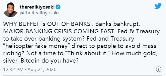 """《富爸爸穷爸爸》作者:""""重大银行危机即将来临""""买黄金、比特币"""
