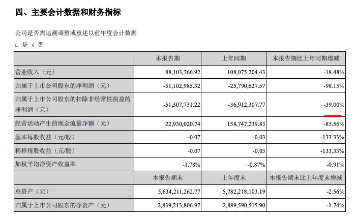 阳光股份中期归属股东净亏损5110万元