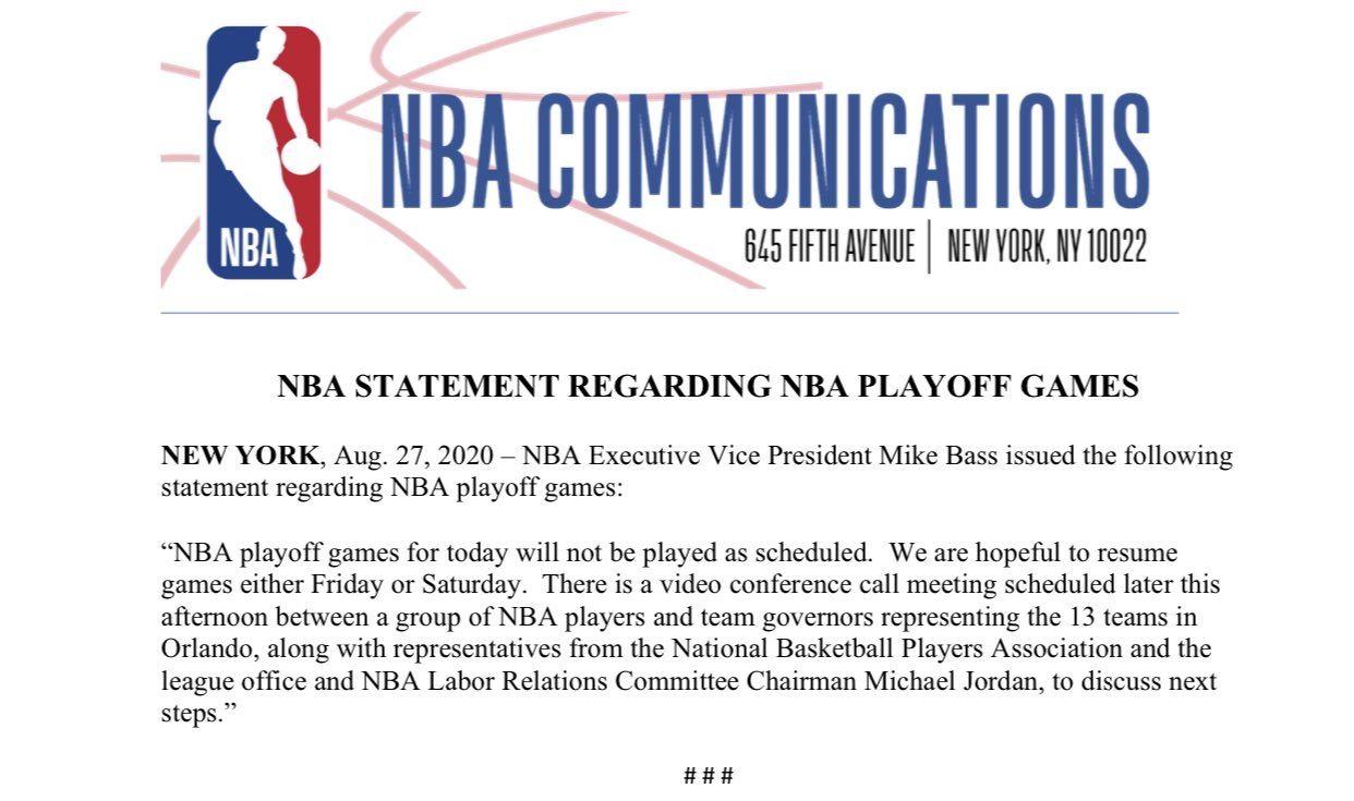NBA季后赛继续延期 乔丹、詹姆斯都表态了