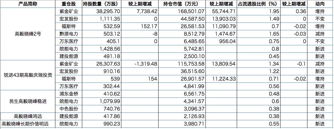 邓晓峰2020年中报持股情况