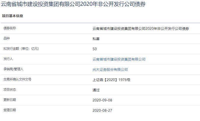 云南城投50亿元私募公司债券已获上交所通过-中国网地产