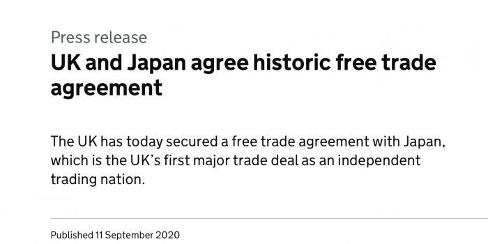 """英国拿下""""后脱欧时代""""首个重大贸易协议 英日达成自贸协定"""
