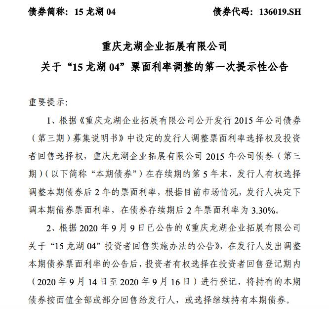 """龙湖将""""15 龙湖 04""""债券存续期后2年票面利率下调为3.30%"""