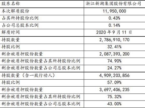 新湖中宝:浙江新湖集团解除质押1195万股股份