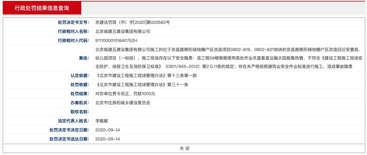 北京城建五建设集团公司违规施工被罚 其系北京城建集团公司控股的子公司
