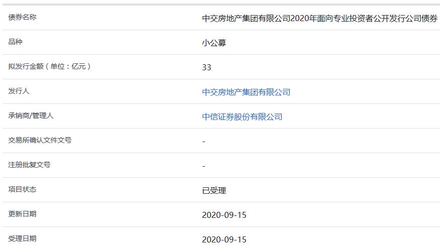 中交地产集团33亿元小公募公司债券获上交所受理-中国网地产