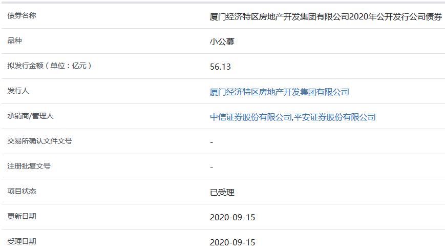 厦门特房集团56.13亿元小公募公司债券获上交所受理-中国网地产