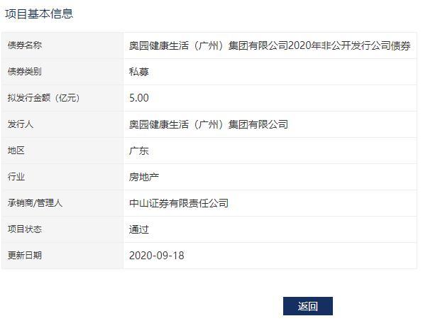 奥园健康:5亿元私募非公开公司债券已获深交所通过-中国网地产