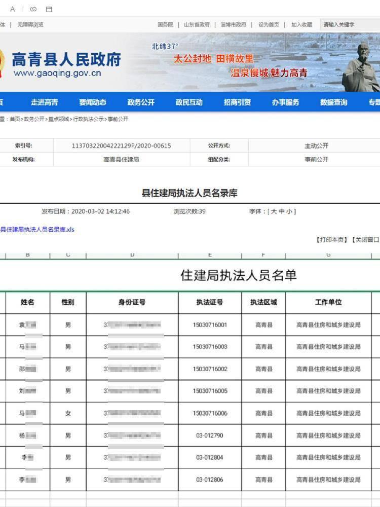 山东高青县政府官网泄露执法人员身份证号 回应:会尽快处理