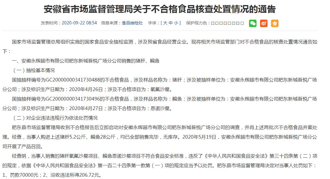 安徽核查处置3批次不合格食品 永辉超市分公司遭罚7万