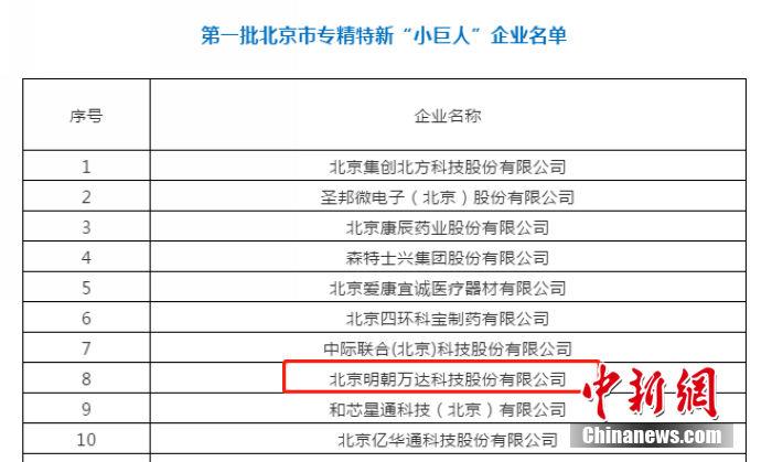 """明朝万达正式获评北京市专精特新""""小巨人""""企业称号"""