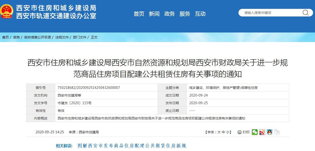 西安楼市新政:新建商品房项目应按规定配建公租房