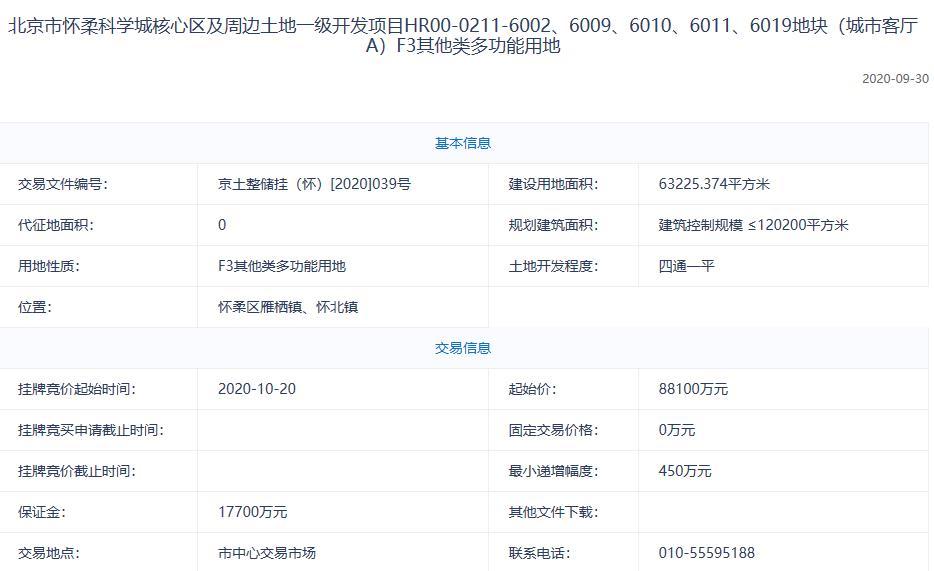 北京怀柔区8.81亿元挂牌1宗经营性地块