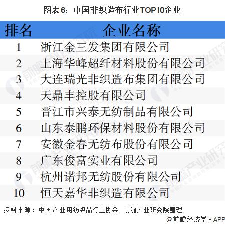 图表6:中国非织造布行业TOP10企业