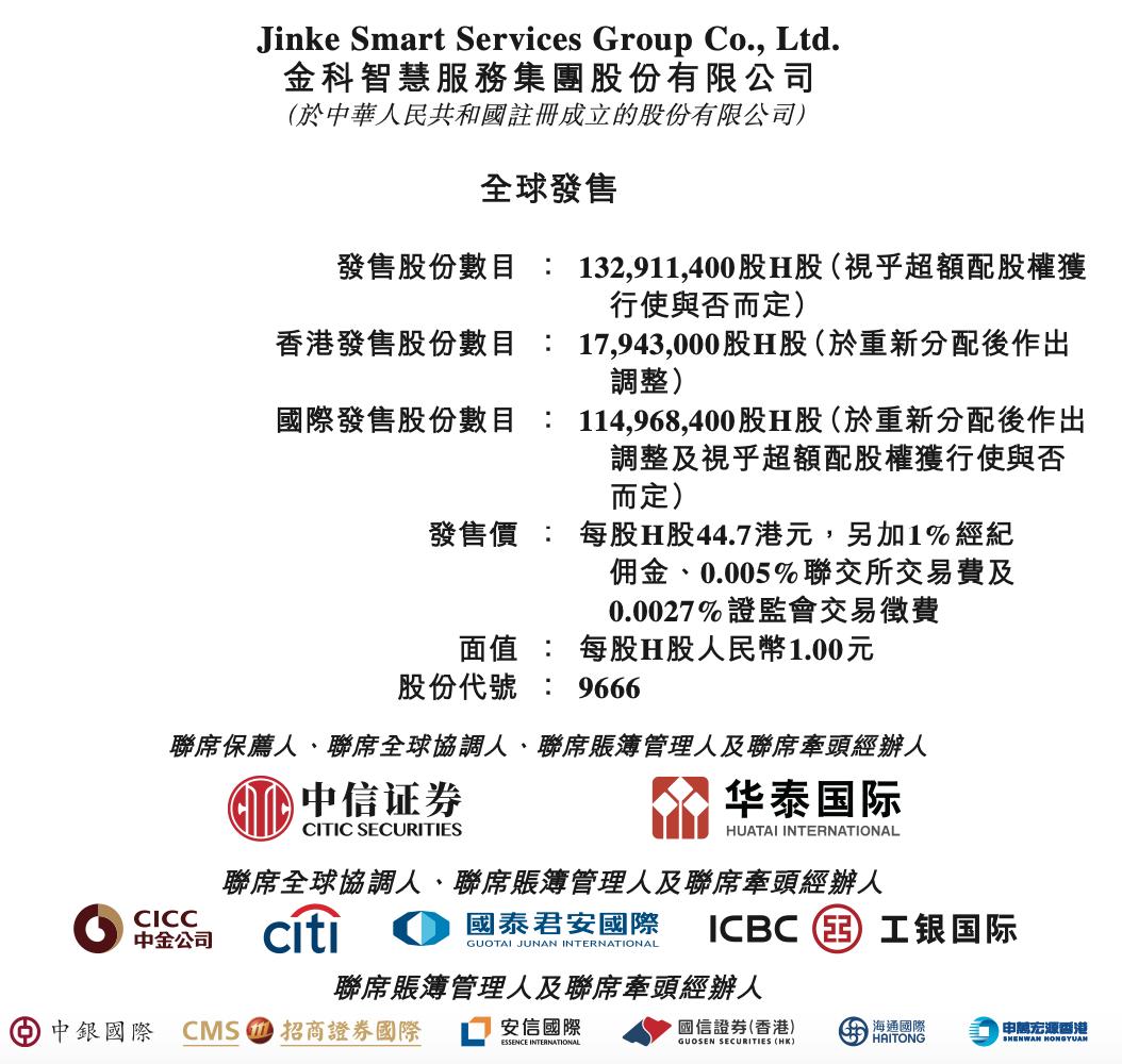 金科服务每股定价44.7港元 基石投资认购5981万股