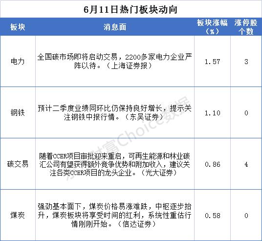 """6月11日板块复盘:""""钢铁侠""""、""""煤超疯""""携手做多 碳中和标的大有可为?"""