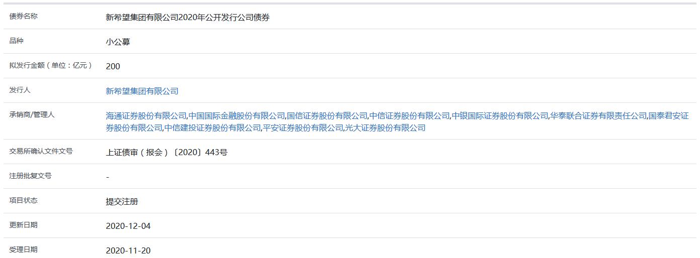 《【杏耀平台网】新希望集团200亿元小公募公司债券在上交所提交注册》