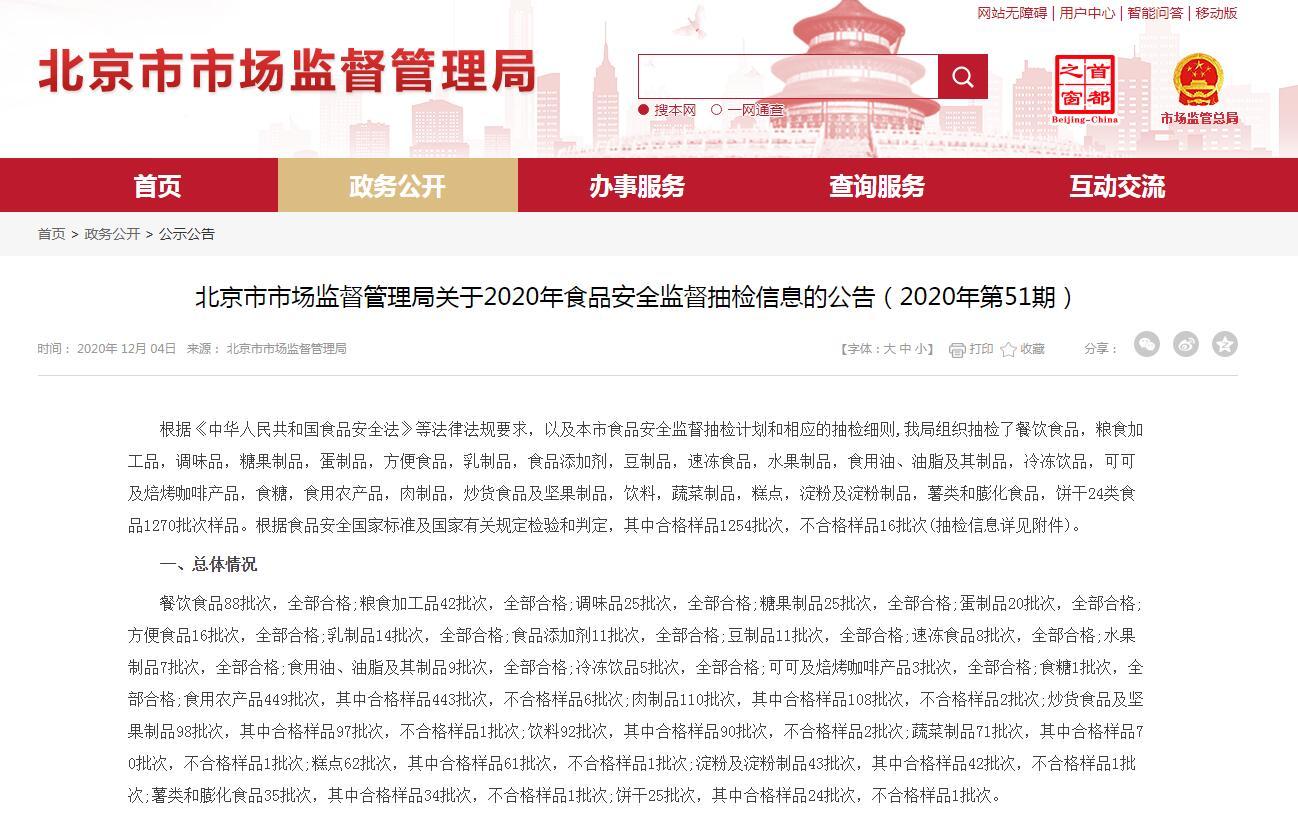 注意!北京抽检16批次食品不合格 涉油菜、绿豆糕等
