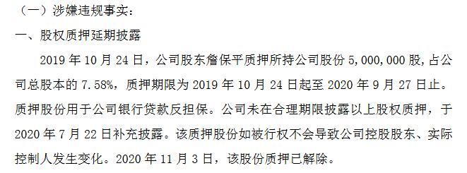 新三板基础层公司威盛电子收警示函:延期披露实控人詹保平质押500万股