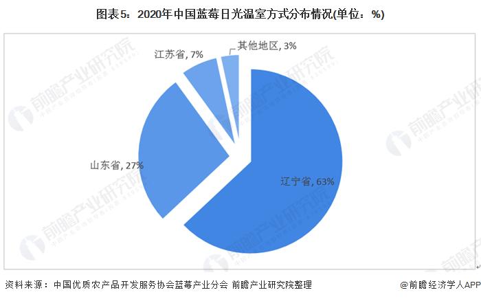 圖表5:2020年中國藍莓日光溫室方式分布情況(單位:%)