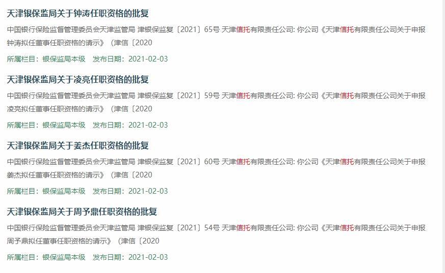 天津信托的几位新董事的任命获得批准