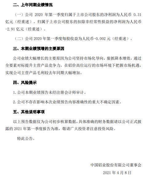 二号站招商主管958337中国铝业:一季度净利同比预增约30倍