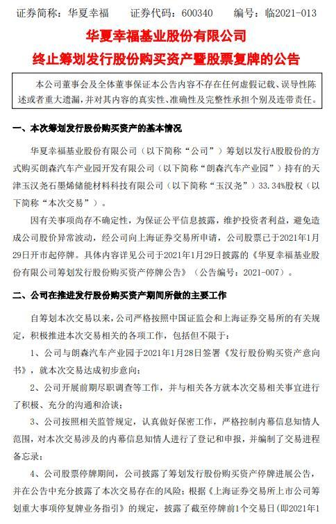 华夏幸福:终止拟发行股份购买石墨烯储能公司股权