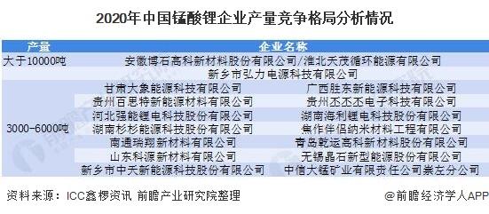 2020年中国锰酸锂企业产量竞争格局分析情况
