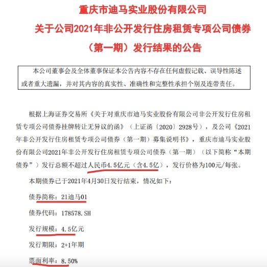 迪马股份:债利率8.5%发行4.5亿住房租赁专项公司