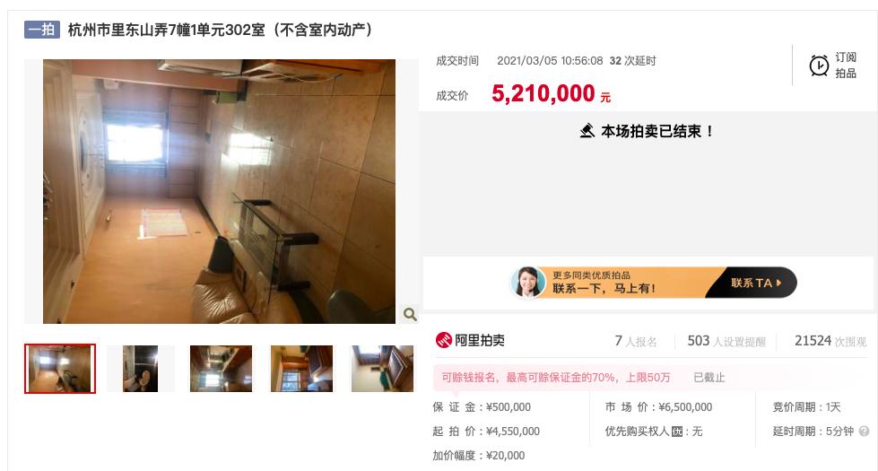 法国拍卖行拍卖价格暴跌129万!杭州楼市新政后,许多套拍卖行被撤销或暂停