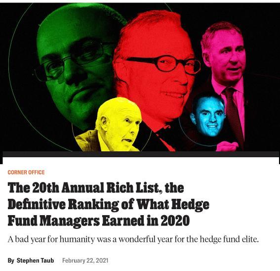 每天狂赚3.5亿!最牛对冲基金经理来了 这10个人收入最高(名单)
