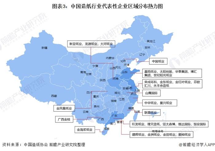 图表3:中国造纸行业代表性企业区域分布热力图